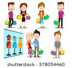 vector people shopping | Shutterstock .eps vector #378054460