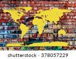 World Map Embossed On Graffiti...