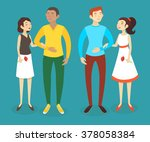 set of two interracial couples... | Shutterstock .eps vector #378058384