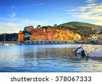 Elba island, Rio Marina village bay. Bay beach and lighthouse. Tuscany, Italy, Europe.