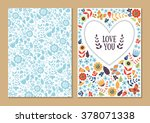 cute vintage floral cards set.... | Shutterstock .eps vector #378071338