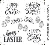 Stock vector hand written easter phrases greeting card text templates with easter eggs isolated on white 378090973