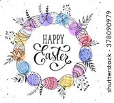 easter wreath with easter eggs... | Shutterstock .eps vector #378090979