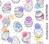 easter background with eggs... | Shutterstock .eps vector #378090988