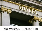 hotel word with golden letters... | Shutterstock . vector #378101848