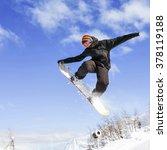snowboarder doing high jump... | Shutterstock . vector #378119188