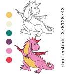 running cute dinosaur. coloring ... | Shutterstock .eps vector #378128743