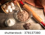 mixing a chocolate cake.... | Shutterstock . vector #378137380