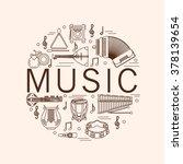 musical instrument line vector... | Shutterstock .eps vector #378139654
