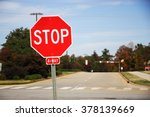 stop sign in front of road...