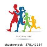 family running silhouettes... | Shutterstock .eps vector #378141184