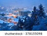 fresh morning snow over... | Shutterstock . vector #378155098