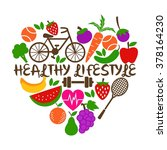 healthy lifestyle poster... | Shutterstock .eps vector #378164230