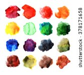 set of watercolor stains | Shutterstock . vector #378171658