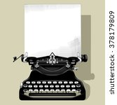 drawing of old typewriter with... | Shutterstock . vector #378179809
