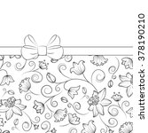 floral gift box with ribbon bow ... | Shutterstock .eps vector #378190210