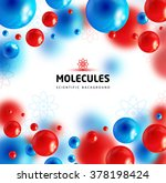 Blue And Red Molecules  Vector...