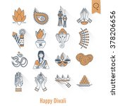 diwali. indian festival icons.... | Shutterstock . vector #378206656