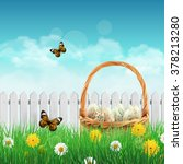 beautiful easter basket with... | Shutterstock .eps vector #378213280