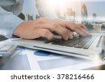 double exposure of business man ... | Shutterstock . vector #378216466