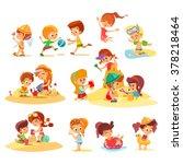 big set of cute cartoon kids... | Shutterstock .eps vector #378218464
