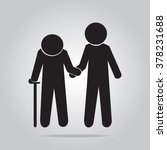 man helps elderly patient icon... | Shutterstock .eps vector #378231688