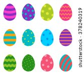 set of colorful easter eggs ... | Shutterstock .eps vector #378240319