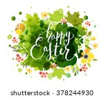 hand sketched happy easter text ... | Shutterstock .eps vector #378244930