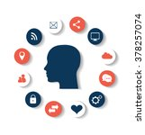 flat social media icons with...