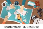 people planning a trip around... | Shutterstock .eps vector #378258040