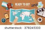 explorer planning a trip around ... | Shutterstock .eps vector #378265333