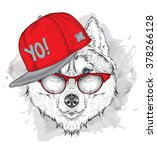 the poster with the image husky ... | Shutterstock .eps vector #378266128