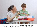 a young mother controls her six ... | Shutterstock . vector #378272890
