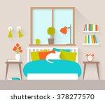 Stock vector interior of a bedroom flat design illustration 378277570
