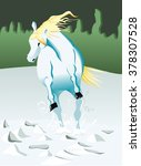 white horse front view | Shutterstock .eps vector #378307528