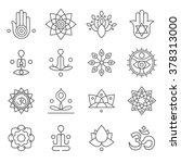 vector yoga icons and line... | Shutterstock .eps vector #378313000