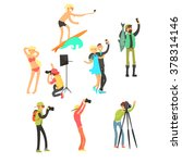 creative people posing while... | Shutterstock .eps vector #378314146