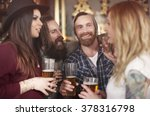 group of people drinking beer... | Shutterstock . vector #378316798
