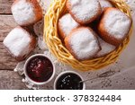 Sweet Hot Donuts With Powdered...