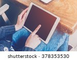 asian woman using tablet... | Shutterstock . vector #378353530