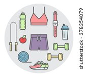 fitness equipment and clothes... | Shutterstock .eps vector #378354079
