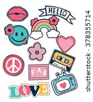 happy colorful patches... | Shutterstock .eps vector #378355714