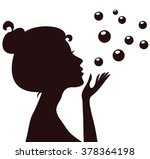 young woman silhouette in... | Shutterstock .eps vector #378364198