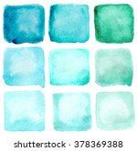 watercolor blue squares set | Shutterstock . vector #378369388