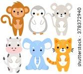 set of six of cute cartoon baby ... | Shutterstock .eps vector #378372940