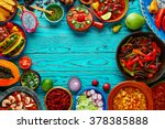 mexican food mix copyspace... | Shutterstock . vector #378385888
