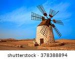 tefia windmill fuerteventura at ... | Shutterstock . vector #378388894
