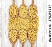 Dried Pasta Food In Oak Wood...