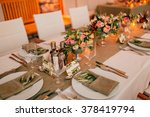 plate at the wedding table... | Shutterstock . vector #378419794