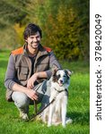 Stock photo dog trainer with dog 378420049